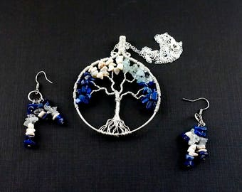 Family tree necklace & earrings, Birthstone pendant, Gemstone earrings, Tree-of-life jewelry, Mothers necklace, Valentine gift for mom