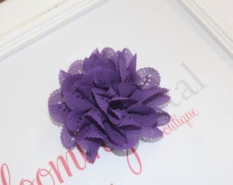 Purple Eyelet Flower Hair Clips