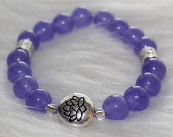 Boho Beaded Bracelet: Purple Beads with Silver Lotus Flower Bead