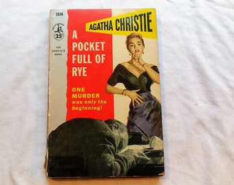 """Vintage 50's Paperback, """"A Pocket Full of Rye"""" by Agatha Christie, 1954.  A Miss Marple Mystery."""