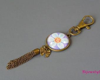 Keychain or bag glass cabochon charm