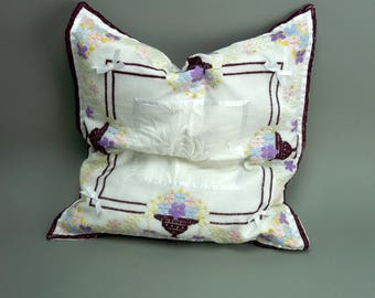 Bedroom Pillow , White And Pink Pillow, Bedroom Decor, Embroidered Cushion,  Applique Pillow.