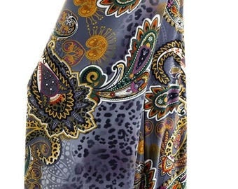 Blue Paisley Flare Pants