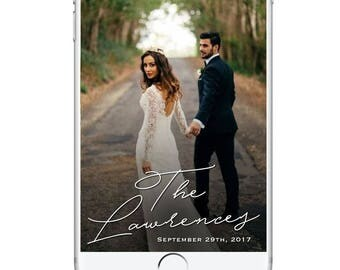 Simple Minimalistic Wedding Snapchat Geofilter, Classy Wedding Geofilter, Elegant Wedding Snapchat Filter, Simple Classic Wedding Decor