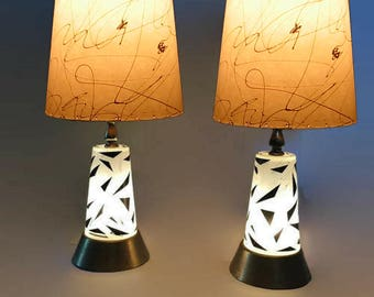 Mid Century Modern Table Lamps Atomic Age Lamp Eames Era Glass Double Light Base Light PAIR Brass & Glass Lamps Bedside Light Up Base