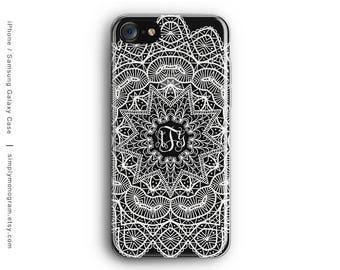 iPhone X Case, iPhone 6 Case, Monogram Mandala, iPhone 8 Case, iPhone 7 Case, iPhone 8 Plus Case, Galaxy S8 Case, Samsung Galaxy Case