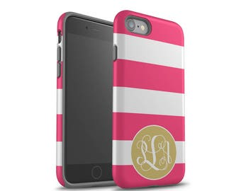 iPhone X Case, iPhone 7 Plus, iPhone 7 Case, Pink Stripes, iPhone 8 Case , Gold Monogram, Galaxy S8 Case, Galaxy S8 Plus Case, Personalized