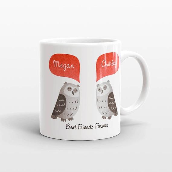 Best Friend Gift, Owl Mug, Personalized Best Friend Mug, Animal Best Friend Coffee Mug, Unique Friendship Gift Best Friend Birthday Gift