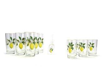 Large Set Vintage Lemon Glasses - Southern Hospitality - Yellow Green Fruit Glassware Glass Set French Cottage Chic Lemonade Cups Cocktails