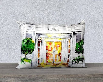 Dior Pillow Cover - Home Decor Fashionable Accessories - Fashion Style Throw Pillow - Lana Moes Art - Glam Home Accessories - Parisian decor