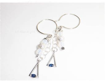 Bermuda • silver jewelry • 925 Sapphire and Pearl Earrings silver jewel •