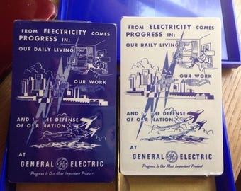 VTG General Electric GE Brown & Bigelow playing cards in case Progress slogan