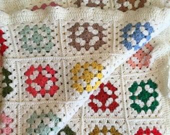 Vintage Afghan Crocheted Rainbow Blanket Granny Square White