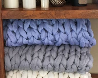 "35% OFF! Super Chunky Knit Merino Wool 40"" x 63"" Throw Blanket Giant Knit, Extra Chunky Wool Blanket, Bulky Knit Blanket, Arm Knit Cozy"