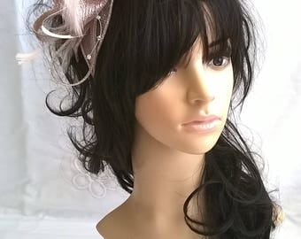 Stunning latte pink metallic Sinamay and  Feather rosette Fascinator with crystal stamens
