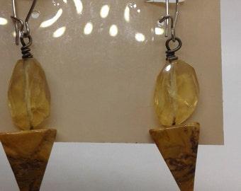 Genuine CITRENE and JASPER Dangle Earrings