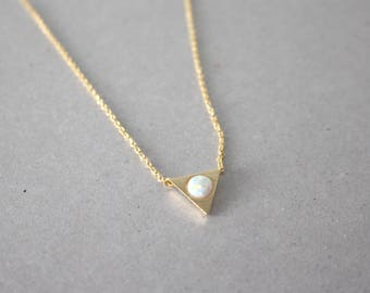 Opal Necklace, Triangle Necklace, gold opal necklace, Opal jewelry, opal triangle necklace