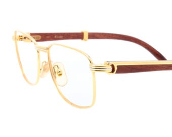 Cartier Amboise Bubinga Palisander Rosewood vintage 1990 eyeglasses frames, in mint condition.