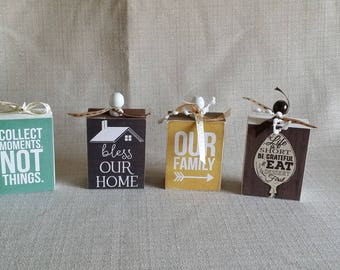 Wood Blocks - set of 4, home decor, wood sign, family, home, bless our home, our family, eat dessert first, collect moments not things