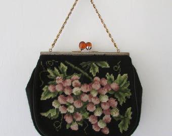 vintage 1950s purse   vintage purse   1950s purse   needlepoint purse   vintage 1950s handbag   The Sweetest Fruits Needlepoint Handbag