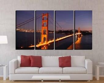 Golden Gate Bridge,Golden Gate Wall Art,San Francisco Wall Art,Golden Gate Canvas Print,Golden Gate Bridge  Art,Golden Gate night,Sunset Art