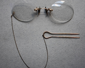 Antique, Gold-Filled Shur-On Pince-Nez with Hair Pin