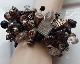 Vintage Expansion Bracelet large beads chunky bracelet