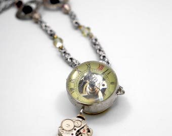 Mechanical Pocket Watch on Byzantine Chainmaile Necklace #12 Filigree & Swarovski