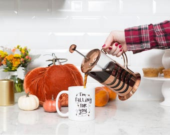 Cute Coffee Mug - I'm Falling For You Coffee Cup - Autumn Mug - Fall Coffee Mug - Seasonal Cup - Falling Leaves - Gift for Her