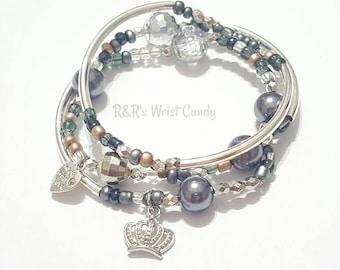 Silver Beaded Bangle Set, Blue, Grey, Tan, Beige Beaded Bracelets, Minimalist, Boho, OOAK Crown Charm, Handmade Custom Beaded Jewelry