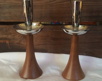Mid Century Modern Danish Design Teak and Chrome Candlesticks