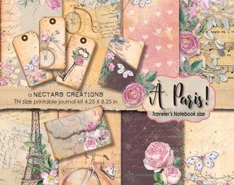 À PARIS_Travelers Notebook Size VINTAGE PRINTABLE Journal Kit, Floral, Journal pages, Collage sheet, Digital Images, Ephemera