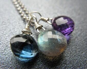 Amethyst Necklace, Labradorite Necklace, London Blue Topaz Necklace, Sterling Silver, Gemstone Trio Necklace, Blue, Purple - Shadow Garden