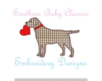 Valentine Heart Labrador Lab Dog Blanket Stitch Applique Boy Design File for Embroidery Machine Monogram  Instant Download Cute Baby