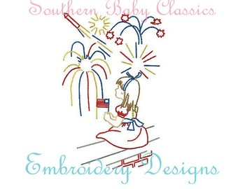 Vintage Stitch Patriotic Girl Watching Fireworks Fourth of July Memorial Day File for Embroidery Machine Instant Download Independence Day