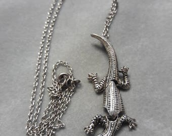 Articulated Sterling Silver Lizard Pendant & Chain