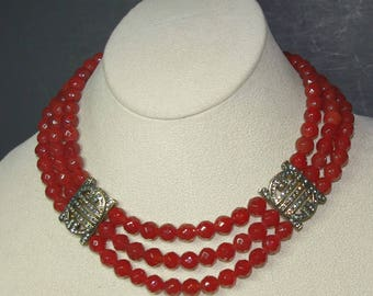 Czech Glass Beaded Necklace in Red with Crystal Accents - S2247