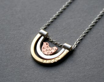 Personalised bird in nest necklace