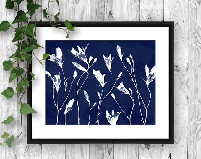 Featured listing image: Cyanotype Botanical Flowers Art Print, Cyanotype Nature Decor, Cyanotype Wildflower Poster, Cyanotype Home Decor, Navy Blue Botanical Print
