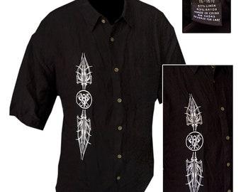 Retro Lounge Style Shirt with Pinstripe&V8 Motif / Rockabilly Shirt / Kustom Kulture Shirt / Hot Rod Shirt