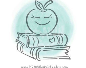 Apple on Books- PYO Stencil File- PERSONAL USE only