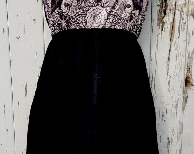 Gothic Spider Web & Scorpion Dress - Size 10 12 14 - Skater Rockabilly Raven Bat