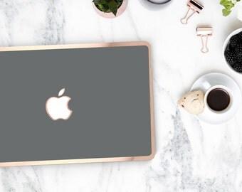 Gunmetal and Rose Gold Edge Detailing Hard Case for Apple Macbook Air & Mac Pro 13 Retina -  Platinum Edition