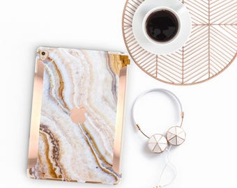 "Pina Onyx Marble iPad Case and Rose Gold Detailing iPad Pro 9.7 / iPad Pro 10.5"" Smart Keyboard compatible Hard Case - Platinum Edition"