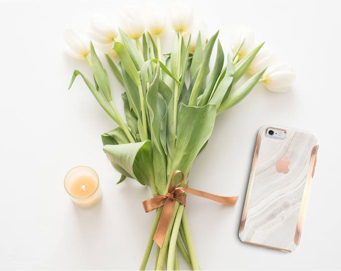 Featured listing image: Marble Stone and Rose Gold Case Otterbox Symmetry iPhone 6 / iPhone 7 / iPhone 8 / iPhone X  - Platinum Edition