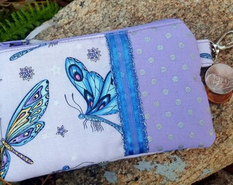 Dragonfly Coin Purse, Small Zipper Wallet, Firefly Change Purse, Girl's Chain Purse