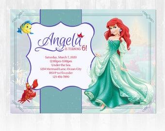 Little Mermaid Birthday Party Invitation, Ariel Birthday Invitation, Princess Birthday Party Invitation, Princess Birthday Party , Disney