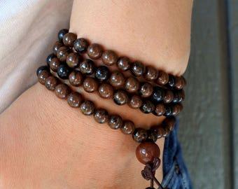 Powerful HEALING STONE - BLOODSTONE 108 Mala Bead, Mala Bracelet, Bead Bracelet, 6MM Mala,Yoga Meditation Buddhist Jewelry,Gemstone Bracelet