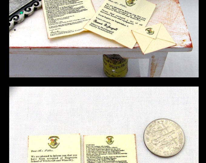 WITCHCRAFT And WIZARD School ACCEPTANCE Letter Miniature Dollhouse 1:12 Scale Magic Magical Spells Harry Potter Hogwarts Wizardry