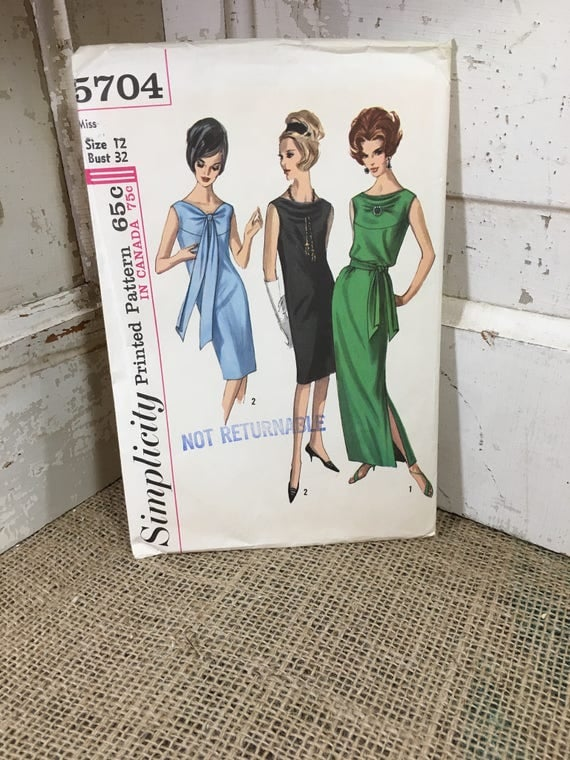 Vintage from the 1964 Simplicity pattern 5704, uncut misses one piece dress in two lengths, classic vogue 1960's dress pattern